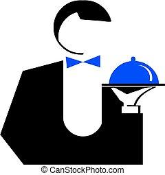 homme, serveur, à, a, dish., vecteur, illustration