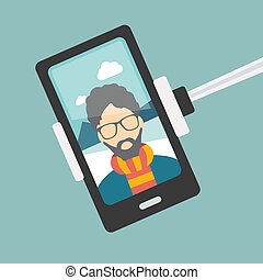 homme, set., photo., selfie