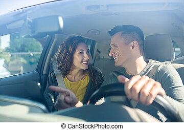 homme, siège, femme, suivant, conduite, porter, ceintures, deux