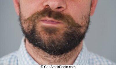 homme, sien, barbu, moustache, mouvements, partie, figure, mustache., tordu, il
