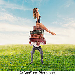 homme, sien, luggages, voyage, épuisé, accentué, lot, petite amie