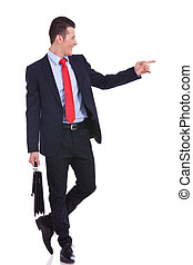 homme, sien, pointage, business, côté