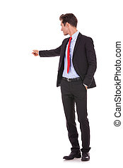 homme, sien, pointage, business, dos