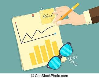 homme, signer, lieu travail, angle, bureau, business, séance, accord, travail, haut, illustration, vecteur, contrat, au-dessus, bureau, homme affaires, document, vue dessus