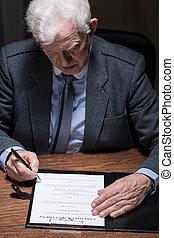 homme, signer, testament