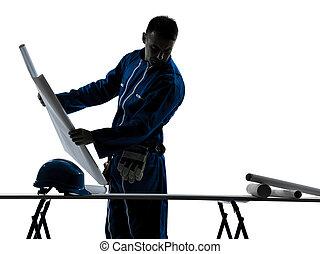 homme, silhouette, architecte, construction