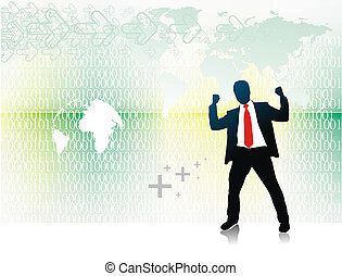 homme, silhouette, business