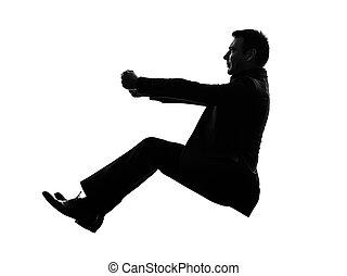 homme, silhouette, conduite, business