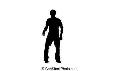 homme, silhouette, fortuitement, danse