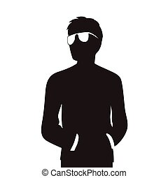 homme, silhouette, lunettes