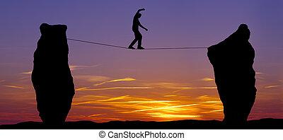 homme, silhouette, marche, corde raide