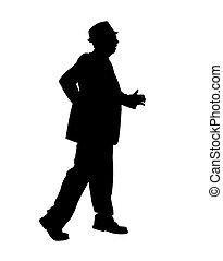 homme, silhouette, marche, jeûne
