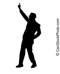 homme, silhouette, pointage