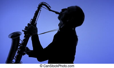 homme, silhouette, sax jouant