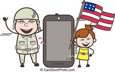 homme, smartphone, armée, drapeau usa, vecteur, illustration, tenue, heureux, gosse
