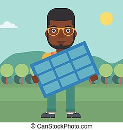 homme, solaire, panel., tenue