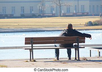 homme, solitaire, banc