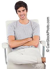 homme, sourire, traversé, sitti, bras