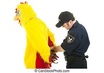 homme, sous, poulet, arrestation