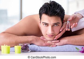 homme, spa, concept, masage, beau