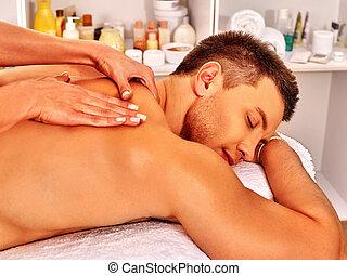 homme, spa., masage, obtenir