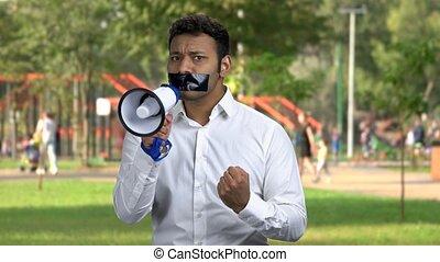 homme, speak., scellé, porte voix, pas, boîte