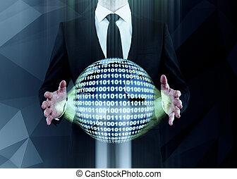 homme, sphère, code, tenue, binaire