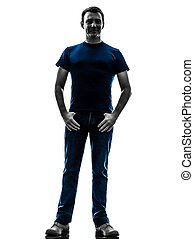 homme, standin, silhouette