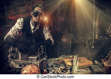 homme, steampunk, scientifique
