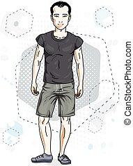 homme, style de vie, clipart., moderne, fond, jeune, illustration, hexagons., thème, vecteur, male., poses, brunet, beau
