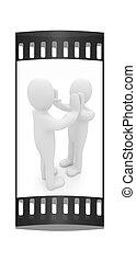 homme, success., entre, -, isolé, émotions, deux, series:, personnes, cinq, célébrer, humain, bande, black., pellicule, 3d