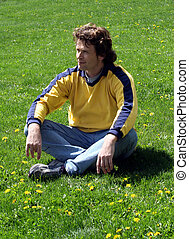 homme, sur, herbe