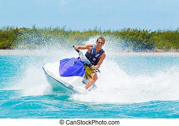 homme, sur, jet-ski