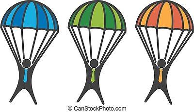homme, sur, parachute, blanc, fond