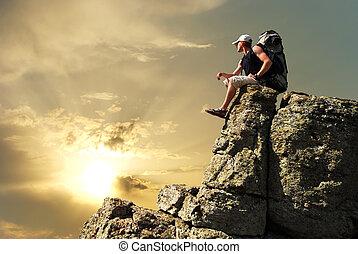 homme, sur, pic, de, mountain.