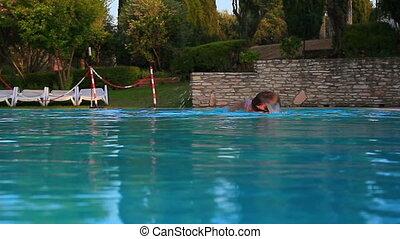 homme, swimming., jeune
