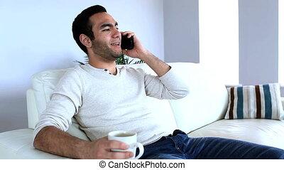 homme, téléphone, avoir, conversation