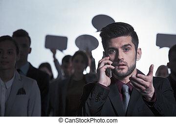 homme, téléphone, conversation, élégant
