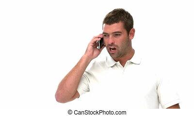 homme, téléphone, conversation