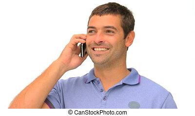 homme, téléphone, désinvolte, parler