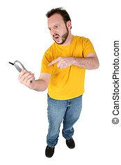 homme, téléphone, fâché