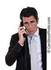 homme, téléphone, réception, surprenant, nouvelles