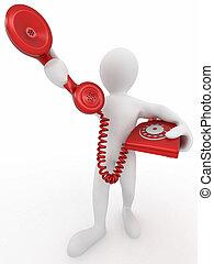 homme, téléphone, tenant récepteur