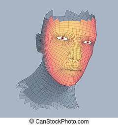 homme, tête, fil, polygone, grid., couverture, géométrie, ...