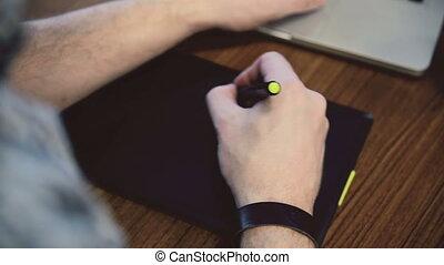 homme, tablet., graphique, fonctionnement, mains