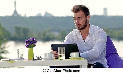 homme, tablette, fonctionnement, business, numérique
