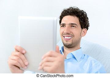 homme, tablette, numérique