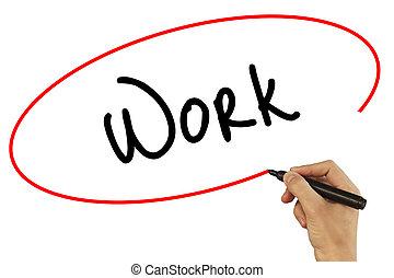 homme, technologie, photo, concept., travail, isolé, business, grey., visuel, noir, main, screen., internet, marqueur, écriture, stockage