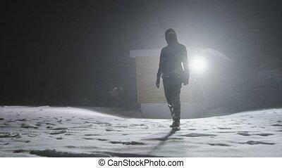 homme, temps, nuit, tempête neige