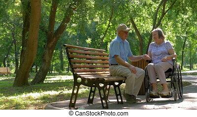 homme, temps, personne âgée femme, dépenser, fauteuil roulant, parc